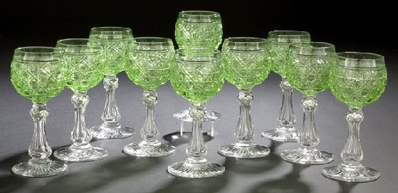 Lime Colored Dorflinger Glasses