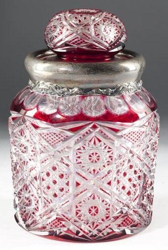 Red Dorflinger Biscuit Jar